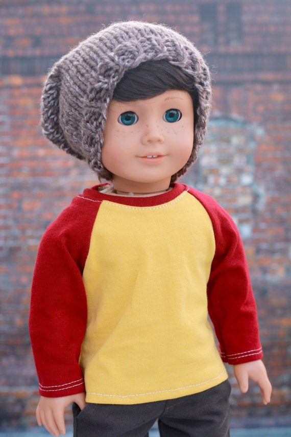 American Boy Doll Clothes - Butter Yellow Scarlet Red BOY Long Sleeve Raglan BASEBALL TEE for 18 Inch Doll such as American Girl Doll