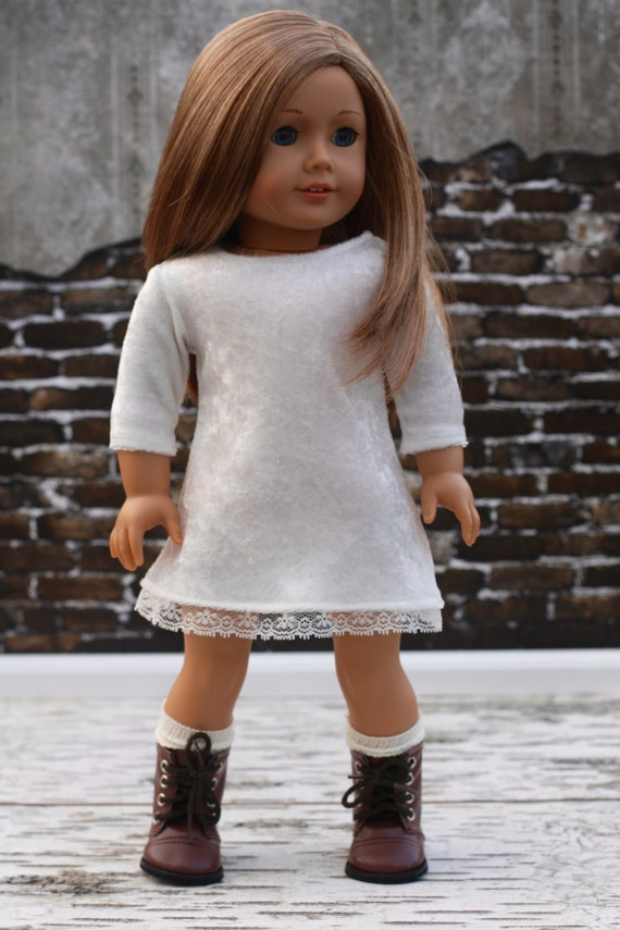18 Inch Girl Doll Clothes | Ivory Velvet and Lace 3/4 Sleeve DRESS for Dolls such as American Girl