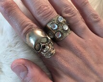 Skull Ring SET Brass Skull Ring Large Skull Jewelry Ring Men Women Skull Unisex Skull Ring Gothic Skull Punk Ring Skull Jewelry Brass Skull