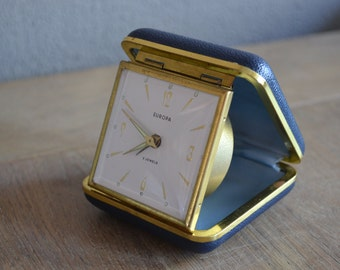 Vintage blue Europa 2 jewel travel alarm clock