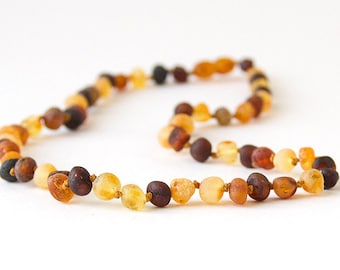 RAW Unpolished  Baltic Amber Necklace, Bracelets & Anklets - Multi-colored
