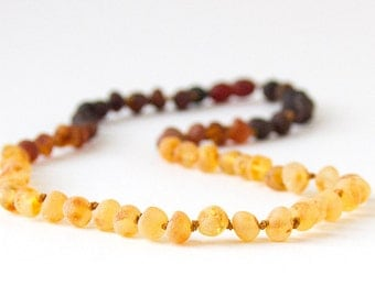 RAW Unpolished Baltic Amber Necklace, Bracelets & Anklets - Dark Ombre-colored