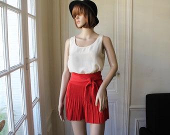 Sonia Rykiel flare shorts high waist rust pleated red orange high waisted short culottes divided skirt waist bow - XXS / XS