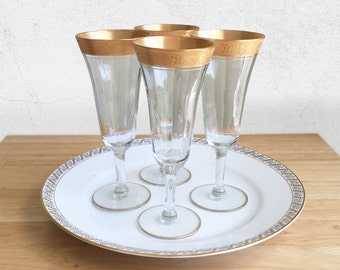 Tiffin Franciscan Minton Clear Gold Encrusted Optic Pattern 14196 Parfait Glasses / Tiffin Minton Gold Embossed Crystal Stemware