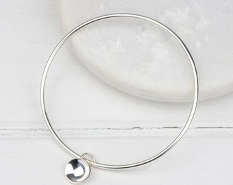 Handmade Sterling Silver Concave Disk Bangle