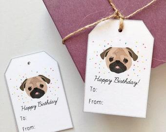 10 Pug Birthday Gift Tags, Dog Birthday Gift Tags, Dog Birthday Tags, Cute Puppy Gift Tags, Pug Lover Gift, Pug Gift Tags, Pug Party Tags