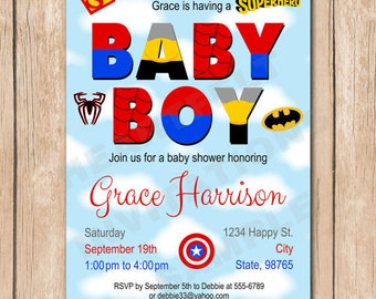superhero baby shower invitation superman batman spiderman
