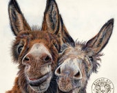 Hee Haw - Large Donkeys Canvas Art Print - 60 x 60cm