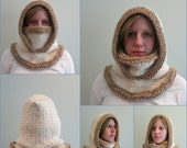 The Montana Hat Knitting Pattern, Hood and Two Cowls Super Bulky Extra Thick and Warm
