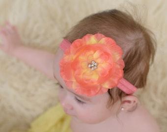 Baby headband, flower headband, hawaii flower headband, infant headband, newborn headband, summer headbands, girls headbands, baby girl gift