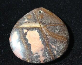40mm  Natural Sonora Hill Jasper, 40mm Gemstone Pendant Bead