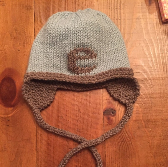 Hand-Knit Baby/Child Letter Hat with Earflaps - Shown in Light Blue/Gray