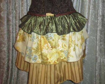 RTS - Harvest Gold Long Steampunk Bustle Ruffle