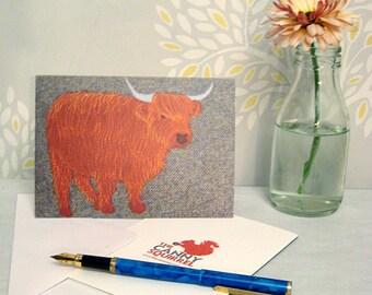 Highland cow card - highland cow birthday card - highland cow greetings card - blank card - highland cow notecard - Scottish animal card