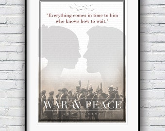 War and Peace, Leo Tolstoy, Book Lover, War and Peace Poster, Literature gifts, Literature Poster, Poster, Wall Decor, Minimalist