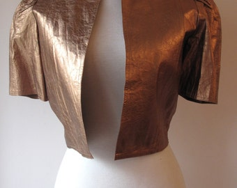 REDUCED 1970s Gold Leather Bolero