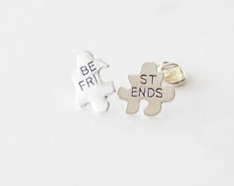 2 BFF Pins, Best Friend Pins, Best Friends Pin Set, Best Friends Heart, Best friend Lapel Pins, 2 Tie Clips, Puzzle Tie Pins, Puzzle Pins