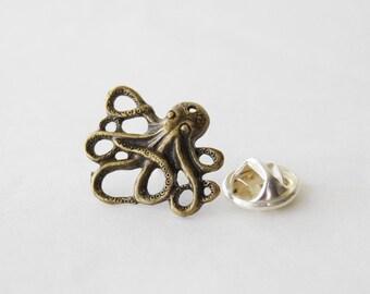 Octopus Tie Tack, Nautical Tie Pin, Octopus Tie Clip, Steampunk Octopus Tie Tack, Gifts for Men, Mens Ocean Tie Pin Tack, Tie Clips Men