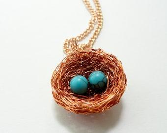 Personalised bird nest necklace,turquoise nest necklace,custom nest necklace,custom grandmother nest necklace,1,2,3,4,5,6,7,8 eggs bird nest