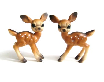 Rubber Deer Figurines, Vintage Fawn Deer, Mid Century Christmas Home Decor, Japan Toy Animal, Bambi Like Deer Toy