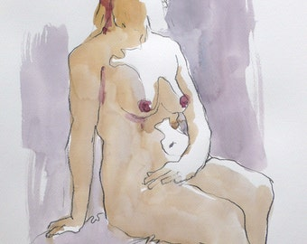 Original watercolor. Woman sitting. Portrait.