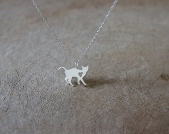 Sterling silver Cat Necklace, Kitty necklace, Silver Necklace, cat lover, delicate necklace, pet necklace, animal, childrens jewelry,