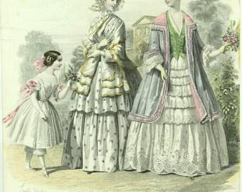 Antique French pochoir Fashion print, Modes Francaises, victorian dresses, crinolines
