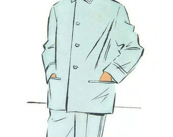 Vintage Man's pyjamas pattern, French midcentury pattern, size S to M