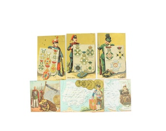 Antique children chromos, Victorian ephemera  - young soldiers uniforms, medals, Russia map and coins