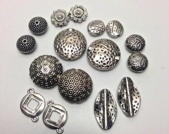 16 mixed connectors antique silver   #CON079