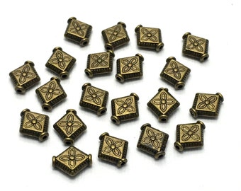 20 losange metal beads ,1mm x 12.5mm,bronze tone, 11mm x 12.5mm  #PM009
