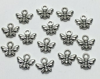15 antique silver bee charms, 10mm  # CH 194