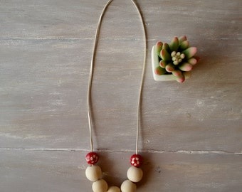 SAN DIEGO- wooden bead minimal necklace - beige suede cord and wooden beads necklace  - wooden and ceramic beads necklace