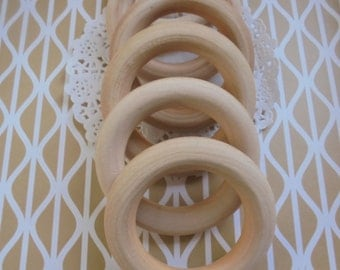 Qty 10 x 2-3/4 inches (7 cm) Diameter Unfinished Large Wooden Rings Perfect for DIY Educational Aid, Toys, Baby Teethers, Craft Supplies