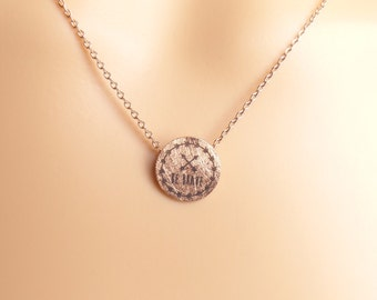 Be brave circle pendant Necklace, silver gold rose gold disk Necklace,graduation gifts,Christmas present,Holiday gift