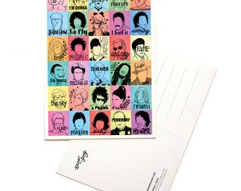 Fame Pop Art Postcard, Pop Song Lyrics Card, Minimalist Portrait Illustration, Minimal Design, Music Art Print, Song Lyrics Art