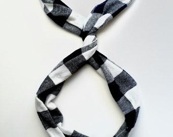 Black and White Flannel Buffalo Plaid Wire Headband