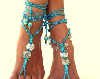 "Tahiti"" Barefoot Sandals, Barefoot Beach Jewelry,  gemstones Hippie Sandals, Foot Jewelry, Toe Thong, festival accessories, yoga toe"
