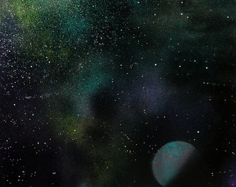 Original A3 Galaxy Artwork, Handmade, Spray Paint Space Scene, 'Lonely Planet'