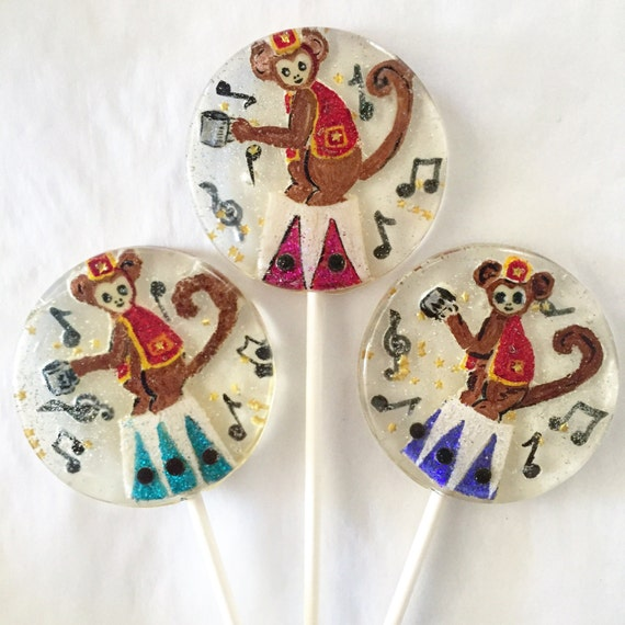 3 Organ Grinder Circus Monkey Lollipops