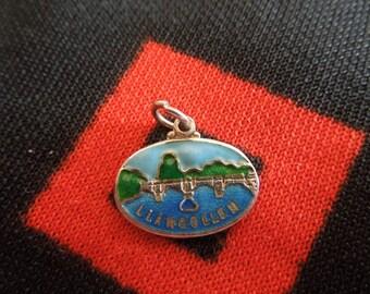 Enamel Sterling Llangollen Charm Wales United Kingdom Travel Shield Charm Sterling Silver Charm for Bracelet from Charmhuntress 03012