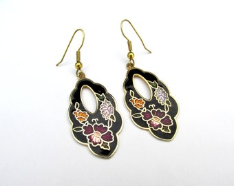 Vintage Cloisonne Earrings Floral Cloisonne Black Cloisonne Hanging Earrings Gold Tone