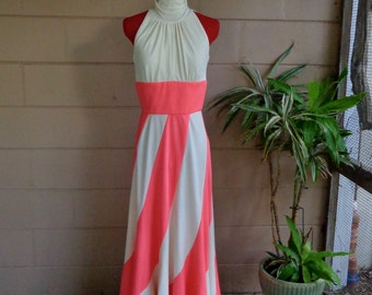Vintage Maxi Dress / Empire Cream & Pink Gown / 1970's  Medium