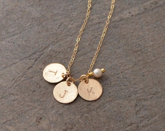 Sterling Silver Initial Necklace - Gold Disc Initial Necklace - Childrens Initial Necklace - Gold Filled Initial Necklace
