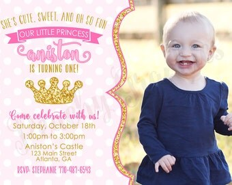 Pink and Gold Princess Invitation - Printable Princess 1st Birthday Invite - Pink and Gold Glitter Birthday - PeachyGraphics