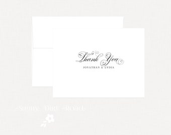 Personalized Wedding Thank You Cards - Set of 25