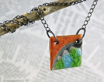 necklace with raku ceramic, colored, metalwork, raku firing technique, handmade