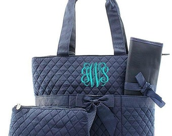 Monogrammed Solid Navy Blue Diaper Bag Quilted Baby Tote Personalized Embroidered