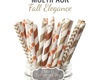 FALL ELEGANCE Multipack, Thanksgiving, Straws, Orange, Brown, Gold, Autumn, Chevron, Dots, Vintage, 25 Straws, 5 Designs, Party, Wedding