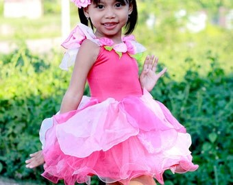Pink fairy dress, Flower fairy costume, girl's fairy costume, birthday fairy dress
